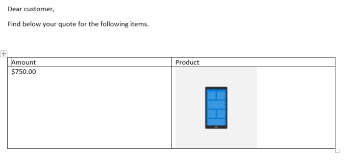 Display product images in a quote in Dynamics 365